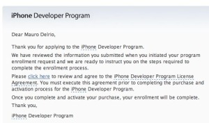 iPhone developer mail